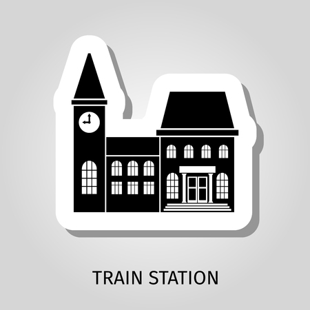 goods station: Train station black building vector web sticker icon