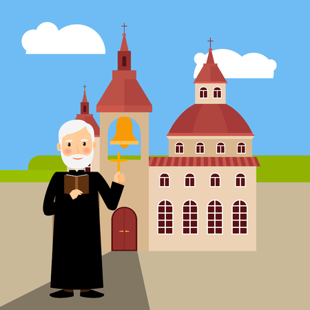 Colored church building with pastor near it, vector illustration Illustration