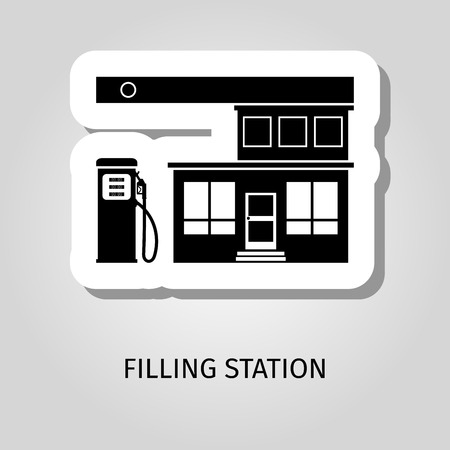 oil and gas industry: Filling station black building vector web sticker icon