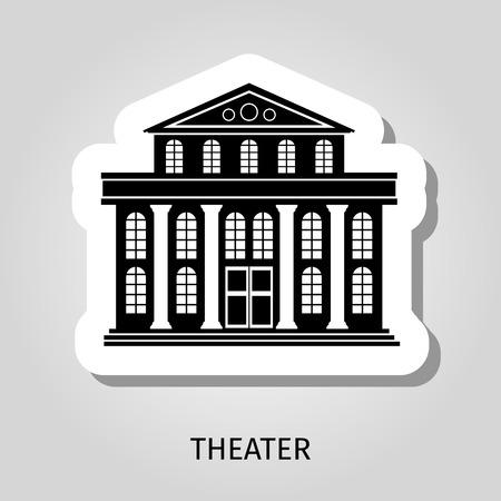 roman column: Theater black building silhouette vector web sticker icon