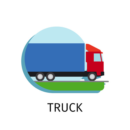 the wrecker: Vector truck transport in flat style on white background Illustration