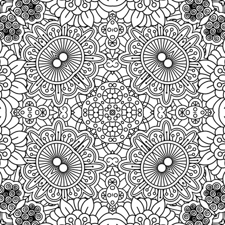 Linear floral pattern in black and white colors. Vector illustration