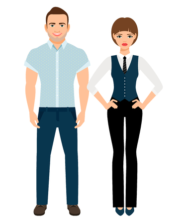 woman white shirt: Fashion elegant couple. Man in polo shirt and woman in vest and trousers on white background. Vector illustration