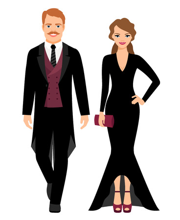 Evening fashion outfit people. Man in black tux and lady in long black dress on white background. Vector illustration