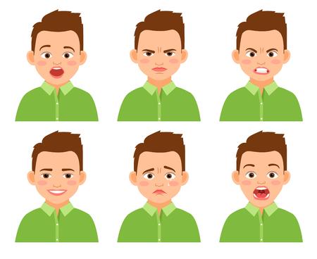 Set di vettore di espressione faccia del ragazzo. Sorpreso e triste, divertente e ferito bambino di cartone animato isolato su sfondo bianco