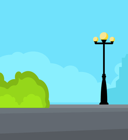 Vintage streetlight on the street near road. Square vector illustration
