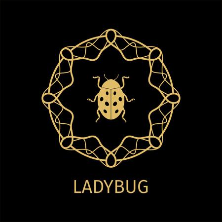 ostern: Label with ladybug in calligraphy framework on dark background. Vector illustration