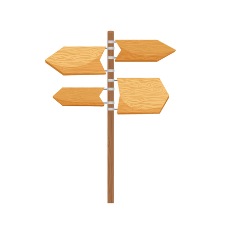 Wooden way direction sign vector cartoon object on white background