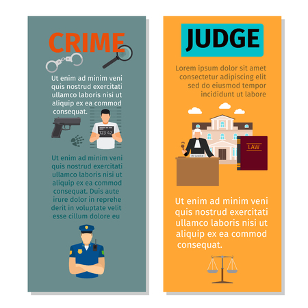 courthouse: Crime and judge concept vertical flyers design, vector illustration