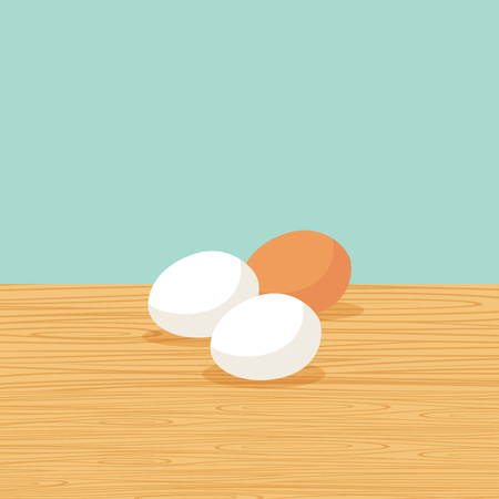 Fresh and natural farm eggs on the table vector illustration Illustration