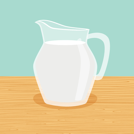 Fresh and natural farm milk carafe on the table vector