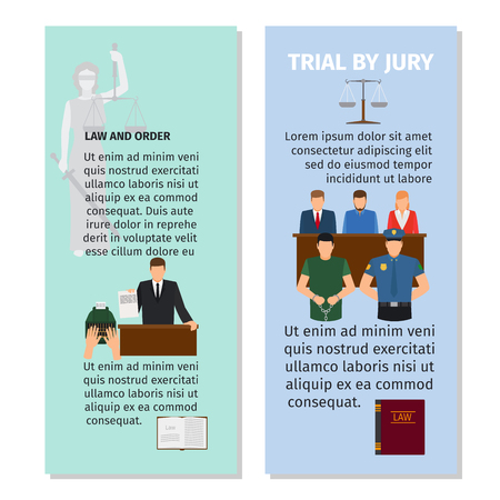 testify: Jury and order concept vertical flyers design. Vector illustration