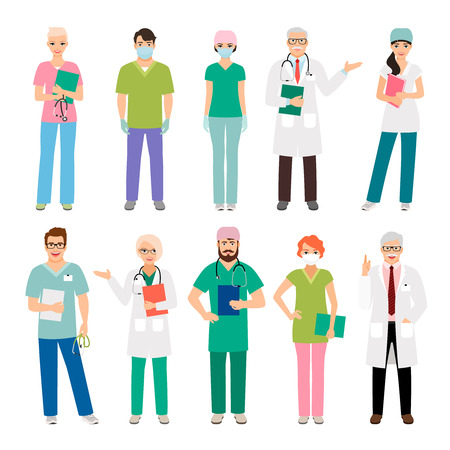 Medical staff standing people isolated on white background. Health practitioner doctor and healthcare nurse vector illustration
