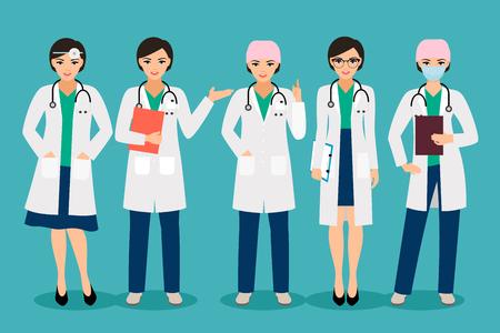 Vector vrouwelijke arts of glimlachende vrouw apotheker stelt geïsoleerd op de achtergrond Vector Illustratie
