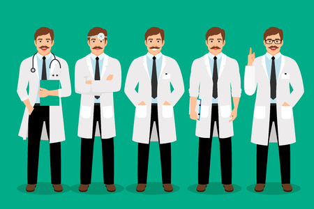 Standing male doctor poses vector illustration. Healthcare man practitioner portrait in white coat isolated on background
