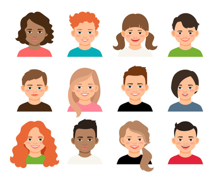 joyfull: Vector teenagers or pupil kids faces. Young teenage girls and boys avatars isolated on white background