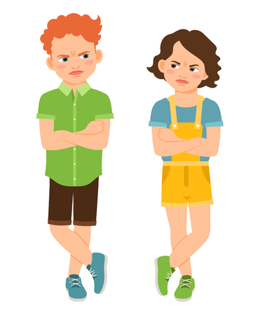 concerned: Angry children with crossed hands isolated on white background. Frown sad boy and tough girl vector illustration