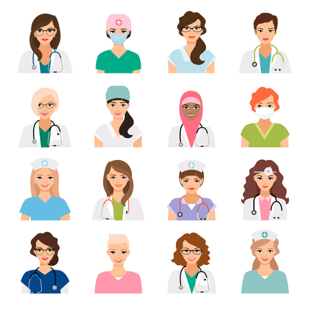 Medicine avatars set with female doctors and nurses vector icons isolated on white
