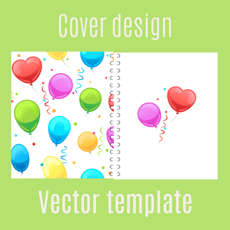 scrap book: Cover design for print with cartoon party balloons pattern. Vector illustration