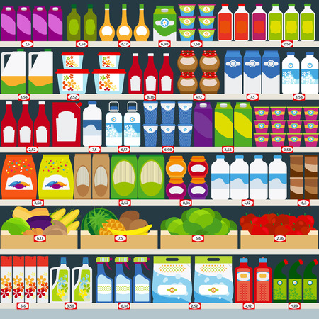 Vertical vector background, store shelves full of groceries. Vector illustration Ilustração