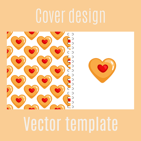Cover design for print with cookies hearts pattern. Vector illustration
