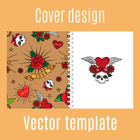 Cover design for print with vintage cute tattoo pattern. Vector illustration