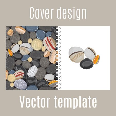 pebbly: Cover design for print with river stones pattern. Vector illustration