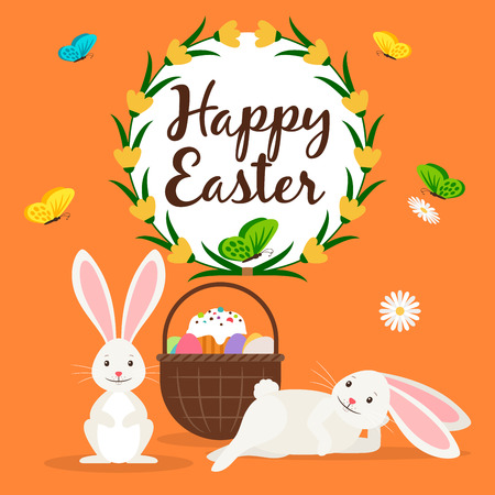 rabbit standing: Happy easter greeting card template with rabbits and Easter basket. Vector illustration Illustration