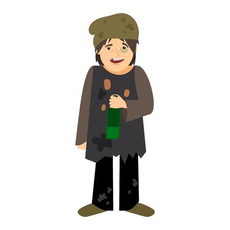 Homeless man drinking from bottle icon on white background. Vector illustration