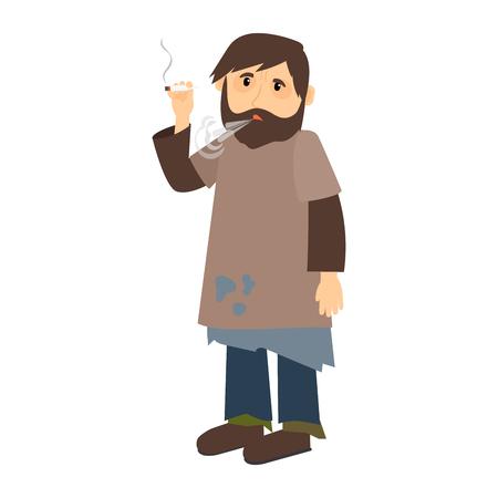 Homeless Mann raucht Zigaretten-Symbol auf weißem Hintergrund. Vektor-Illustration