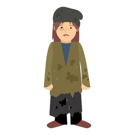 白い背景の黒い目とホームレスの女性。ベクトル図