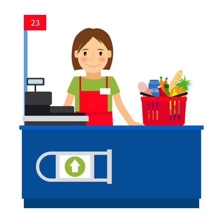 cash register building: Cashier woman at the cash register machine and a shopping cart. Vector illustration