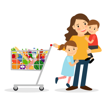 Happy woman with two kids and shoping cart. Vector illustration