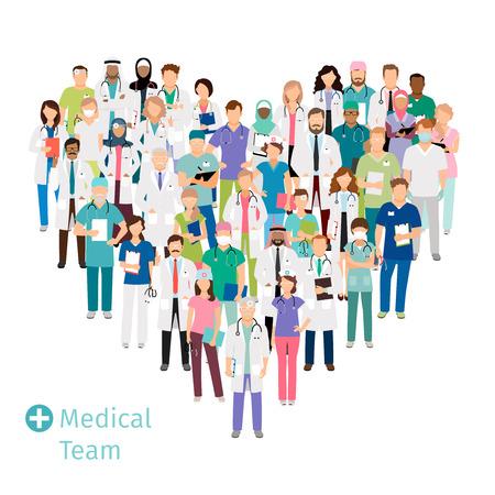 Cuidado médico equipo en forma de corazón. Profesionales de la salud del hospital grupo de profesionales en uniforme para sus conceptos. Ilustración del vector