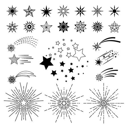 Vector hand drawn cartoon stars. Doodle sketch night star set Illustration