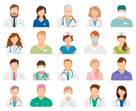 Professional doctor avatars isolated on white background. Medicine professionals and medical staff people icons vector illustration Stok Fotoğraf - 76105925