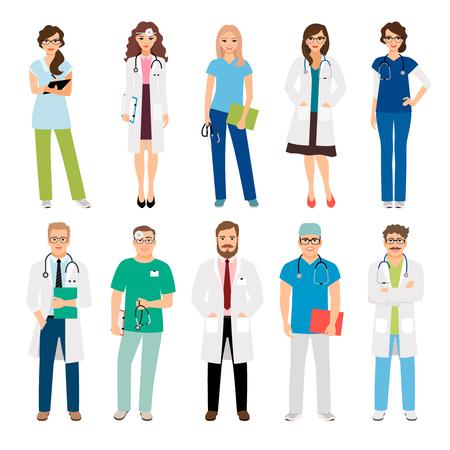 Gesundheitspflegeteamkräfte lokalisiert auf weißem Hintergrund. Lächelnde Ärzte und Krankenschwestern in Uniform für Projekte im Gesundheitswesen. Vektor-Illustration Vektorgrafik
