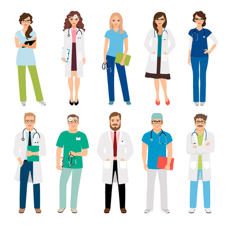 Healthcare medical team workers isolated on white background. Smiling doctors and nurses in uniform for health care projects. Vector illustration Illusztráció