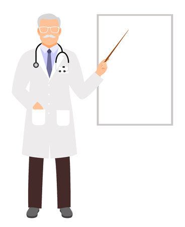 laboratory equipment: Doctor presentation. Medical lecture, physician teaching and showing on white clipboard vector illustration Illustration