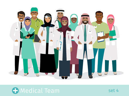 Muslim hospital team vector illustration. Standing arabian physician and surgeon, arab woman nurse and man doctor isolated on white