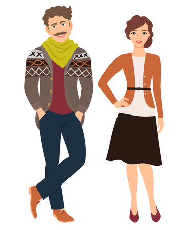Fashion couple in casual clothes. Man in jeans and cardigan and woman in skirt, vector illustration
