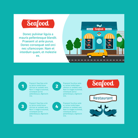 blue fish: Seafood house horizontal flyers with shop building and landscape, vector illustration Illustration