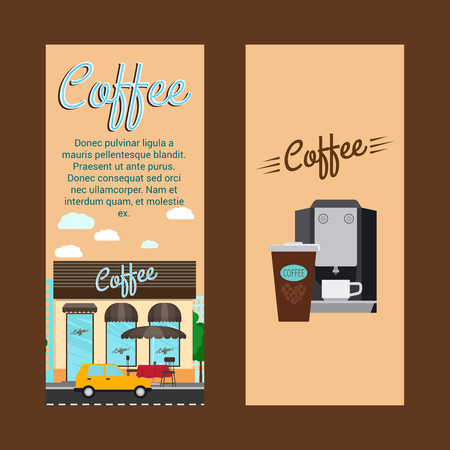 Coffee vertical flyers with shop building and landscape, vector illustration