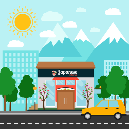 Japanese restaurant shop building and landscape, vector illustration