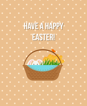 Happy Easter vertical beige greeting card template with rabbit in basket. Vector illustration