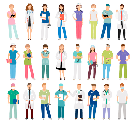Female and male doctors and women and man nurse set vector illustration. Vector healthcare hospital medical team isolated on white background Illustration