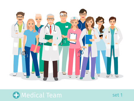 Hospital team isolated on white background. Doctor and assistant, nurses and medical helping group vector illustration Çizim