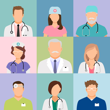 medicare: Doctors and nurses profile vector icons. Surgeon and therapist, oculist and nutritionist avatars Illustration