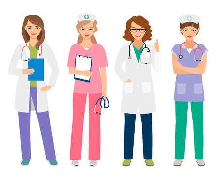 Young female doctor and woman nurse characters vector illustration. Smiling hospital workers, standing women portrait isolated on white Illustration