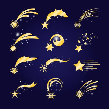 Cometas en caída o estrellas fugaces doradas. Conjunto de meteoritos de vectores, fantasía de cometas caída sobre fondo de cielo azul